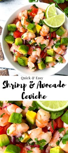 Shrimp & Avocado Ceviche- Need a healthy appetizer fast? Try this light and refreshing ceviche! It& full of shrimp, fresh produce and can be made in minutes! Quick Healthy Meals, Healthy Recipes, Healthy Cooking, Healthy Snacks, Vegetarian Recipes, Easy Meals, Healthy Eating, Vegan Vegetarian, Vegetarian Breakfast
