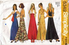 Misses A-Line Empire Waist Halter Neck Maxi by stitchingbynumbers
