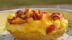 Take baked potatoes to the ultimate level of creamy, cheesy, buttery goodness. Then top with bacon. Mmm bacon!