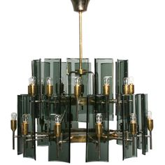[ Brass and Glass Chandelier Italy 1950's - Craig Van Den Brulle ]