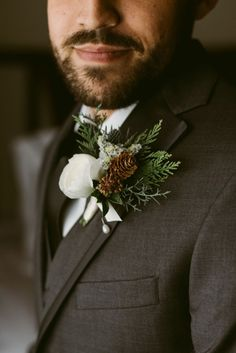 groom with winter inspired wedding boutonnier Wedding Tux, Wedding Film, Wedding Bouquets, Dream Wedding, Winter Wedding Receptions, Winter Wedding Decorations, Winter Weddings, Christmas Wedding Flowers, Christmas Wedding Suits