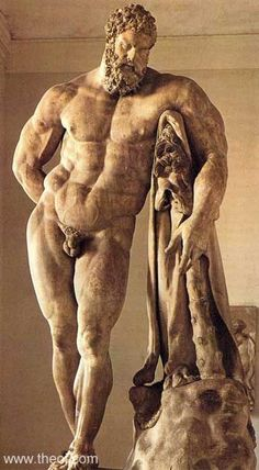 "Farnese Hercules, early third century AD. Sometimes called the ""weary Hercules"", it portrays him after he has completed his 12 labors. He is holding the Apples of the Hesperides (his last labor) in his right hand, behind his back. The statue is a copy of the Greek original dating to the fourth century BC. Originally in the Baths of Caracalla."