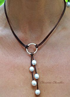 Perla y collar de cuero plata esterlina por ChristineChandler, $89.00