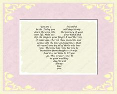 Bridal Gift for Wedding Day from Mom and Dad to Daughter INSTANT DOWNLOAD - On Sale!!