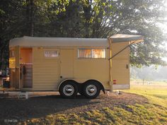 Rustic Beautiful The Horse Trailer Turned Camper Cargo Trailer Camper Conversion, Cargo Trailers, Horse Trailers, Camper Trailers, Bus Conversion, Home Made Camper Trailer, Camping Trailer Diy, Tiny Trailers, Travel Trailers