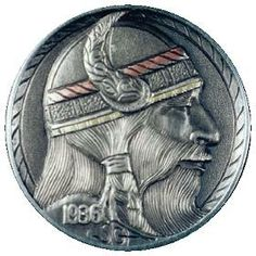 STEVE ADAMS HOBO NICKEL - VIKING - 1936p BUFFALO PROFILE Steve Adams, Vikings, Pony Express, Foreign Coins, Hobo Nickel, Coin Art, Copper Penny, Small Stuff, Rare Coins