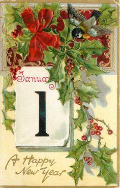 A HAPPY NEW YEAR bird in flight upper right, calendar left center, bow upper left - TuckDB Postcards Happy New Year Baby, Vintage Happy New Year, Happy New Year Cards, Happy New Year 2019, New Year Wishes, New Year Greetings, Postcard Paper, New Year Postcard, Vintage Greeting Cards