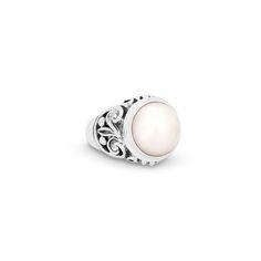 Farah White Freshwater Mabe Pearl Sterling Silver Ring