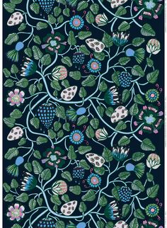 Tiara acrylic-coated cotton - blue, green, grey - All items - Fabrics - Marimekko.com