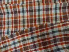 Bourrette lin soie a carreaux orange blanc cassé en 1.50m de large - Boutique www.tissus-vente-en-ligne.com