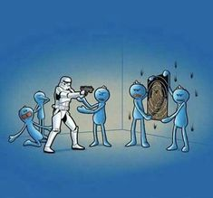 A stormtrooper summoned Mr. Meeseeks to help him aim. And by the looks of it he isn't making any progress. Also as you can clearly see this is the same stormtrooper that bumped his head. Images Star Wars, Star Wars Pictures, Justin Roiland, Rick And Morty, Mister Meeseeks, Stormtrooper, Rick Y, Animation Series, Nerdy