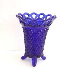 Vintage Vase Cobalt Blue Diamond Lace Design Footed Home Decor Decorative Accessories. $24.00, via Etsy.