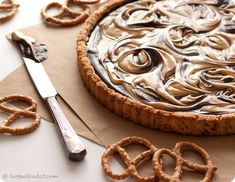 Chocolate Peanut Butter Pretzel Tart with Pretzel Crust