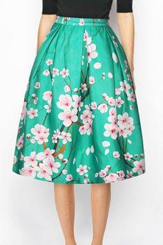 Chic Floral Print High Waist A-Line Skirt For Women