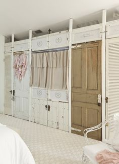 old doors for wall to wall closet