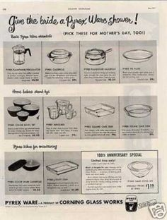 Adds 50's  Pyrex add 1951