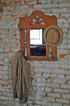 Oak Coat Rack with Mirror by territoryhardgoods on Etsy, $180.00