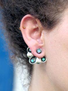Ear Jackets Silver, Sterling Opal Ear Jacket Earrings, Opal Jewelry, Front Back Earrings Opal Jewelry, Gemstone Earrings, Silver Earrings, Sterling Silver Jewelry, Heart Jewelry, Boho Earrings, Body Jewelry, Front Back Earrings, Handmade Jewelry Designs