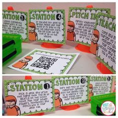 Monday Made It- Open House Stations.  FREE editable open house station signs. Available in both sports theme and black and brights.