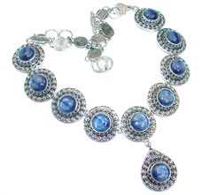 $224.50 Spectacular+AAA++African+Kyanite++Sterling+Silver+handmade+necklace at www.SilverRushStyle.com #necklace #handmade #jewelry #silver #kyanite