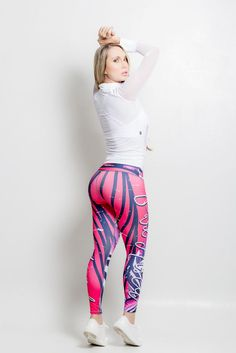 Check out these cool new leggings with a colorful print design. Made from supportive material that gives a firming effect and makes the booty pop! The Brazilian version of SPANX! Material is Polyester/Elastane which is extremely flexible, fade resistant, holds shape, lighter weight, quick drying, wash durability and resists wrinkling. Wide waistband engineered to provide ample support and comfort with a low rise waist Approximate inseam for sizing is 24″ One size fits most