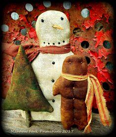 Primitive Folk Art Snowman with Ginger and Christmas Tree-Winter-Christmas-Shelf Sitter-Feedsack, Homespun-Christmas Decor, Home Decor by MeadowForkPrims on Etsy