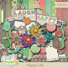 Happy Life Digital Scrapbook Kit by quirkytwerp on Etsy, $7.00