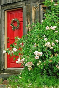 Rustic Welcome with Wreath and Roses ~ Ana Rosa