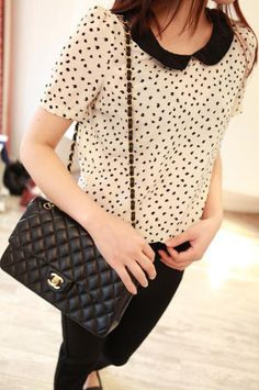 Doll lace collar short-sleeved chiffon shirt