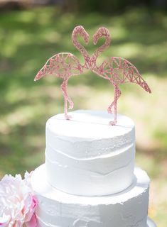 Flamingo Cake Topper Geometric Party Cake Topper by ZCreateDesign