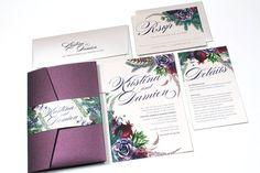 Winter Wedding Invitation Purple Wedding Invitation by OneSuiteDay