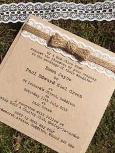 Sample rustic shabby chic vintage kraft wedding invitation with lace & hessian