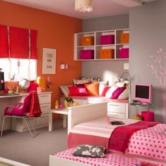orange pink girly colorful girls bedroomscool - Cool Girl Bedroom Designs