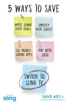 Switch to Sling TV & save for 3 months. Money Saving Mom, Best Money Saving Tips, Ways To Save Money, Money Tips, Savings Plan, Frugal Living Tips, Sling Tv, Budgeting Money, Financial Tips