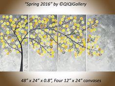 Originele Acryl schilderij moderne wall art geel door QiQiGallery