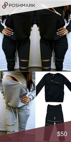 "Unzipped: The unzippable jogger set! NWT I have 1 black M right now, Waiting on S and grey. If you are interested in Gray, let me know! I am so obsessed with  the look and quality and feel are great. Super sexy on! I will post pics of me modeling the small :) Nice thick, warm, COZY material, and perfect that the zippers can cool you down! Full size joggers, modeled pulled up like Capri. I'm 5'5"" and the pants are ample length. Sorry my pic is so blurry, it is much cuter exactly like 1st pic…"