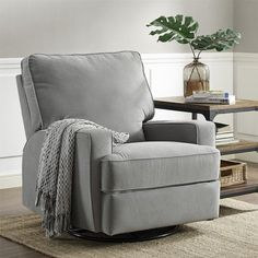 The Baby Relax Rylan Swivel Gliding Recliner is the ultimate in nursery room seating. With comfort features such as a reclining mechanism and a sup. Plywood Furniture, Upholstered Furniture, Glider Recliner Chair, Swivel Glider, Nursery Recliner, Chair Cushions, Grey Recliner, Baby Glider, Modern Recliner