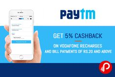 @paytm #offers 5% #Cashback on #Vodafone #Recharges and Bill payments of Rs.20 and above. Max. Cashback is 200, Valid till 31st October.Valid for only Vodafone users Coupon Code : VODA5  http://www.paisebachaoindia.com/get-5-cashback-on-vodafone-recharges-and-bill-payments-of-rs-20-and-above-paytm/