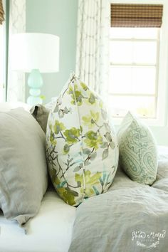 House of Turquoise: Shea McGee DesignDrapes and Pillows - Custom made with Kravet fabrics