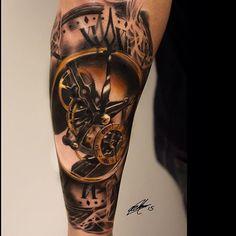 "53 Likes, 5 Comments - @jeroenmoors1983 on Instagram: ""#tattooartist : @garymossman 👍🏻👍🏻👍🏻👍🏻 #amazing #amazingart #amazingartist #arm #armtattoo #clock…"""