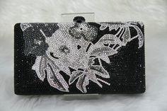 Swarovski Elements Floral pattern Tribal Minaudière Noir Gris Argent nuptiale Wedding Party Metal Case Cristal boîte sac à main d'embrayage