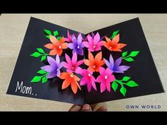 Day card Handmade Mother's Day card / Mother's Day pop up card making / flower pop up card Watch my video and i show you. Pop Up Flower Cards, Pop Out Cards, Pop Up Flowers, Pop Up Greeting Cards, Paper Flowers Diy, Greeting Cards Handmade, Mother Card, Simple Birthday Cards, Paper Crafts Origami