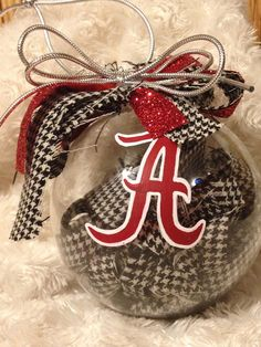 "Hand Painted Alabama Crimson Tide Houndstooth Christmas Ornament Roll Tide Roll 4"" Glass Ball"