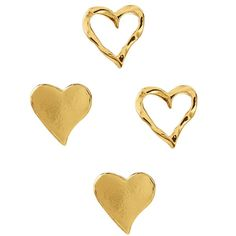 Gorjana Heart Stud Earrings - Set of 2 (190 VEF) ❤ liked on Polyvore featuring jewelry, earrings, gold, 18 karat gold jewelry, heart shaped jewelry, gorjana jewelry, heart shaped earrings and stud earrings