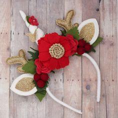 Minus the unicorn horn Christmas Hair Bows, All Things Christmas, Christmas Fun, Christmas Decorations, Christmas Ornaments, Antler Headband, Felt Headband, Unicorn Headband, Headbands