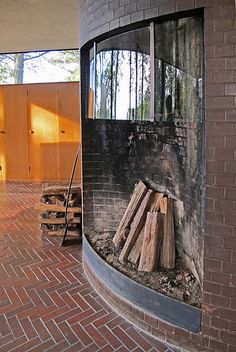 Philip Johnson Residence    Glass House fireplace    Philip Johnson, architect  1949