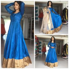 Blue full length Anarkali with golden dupatta Blue full length Anarkali with golden dupatta Saree Gown, Sari Dress, Anarkali Dress, Black Anarkali, Long Anarkali, Anarkali Suits, Lehenga, Sarees, Kurta Designs