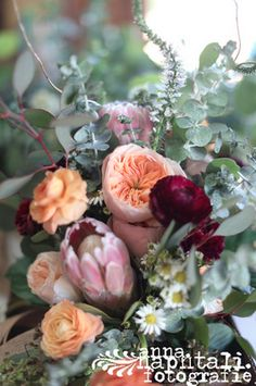 garden bridal bouquet- peach, burgundy, greens, and cream