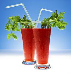 Strawberry Smoothies with Fresh Cilantro