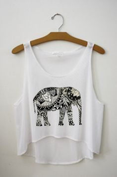 I've recently developed an over-obsession with elephants, especial tribal/aztec elephant anything. Super cute tank Tribal Elephant Crop Top by TanksByTai on Etsy, $15.00